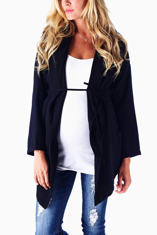 Black-Textured-Maternity-Jacket