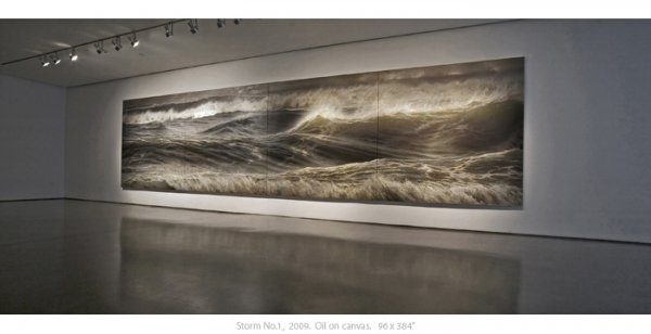 """Ran Ortner - Storm No.1 (2009).  Oil on canvas, 90"""" x 384"""".    """"In my art, I contemplate the collision of opposites, from tender brutalities to the devastating sensitivities. Every day I enter my studio, prepare my materials and, as James Joyce said, """"go for the millionth time to encounter the reality of the experience.""""I attempt through painting to sustain my encounter with life's biting reality.'"""