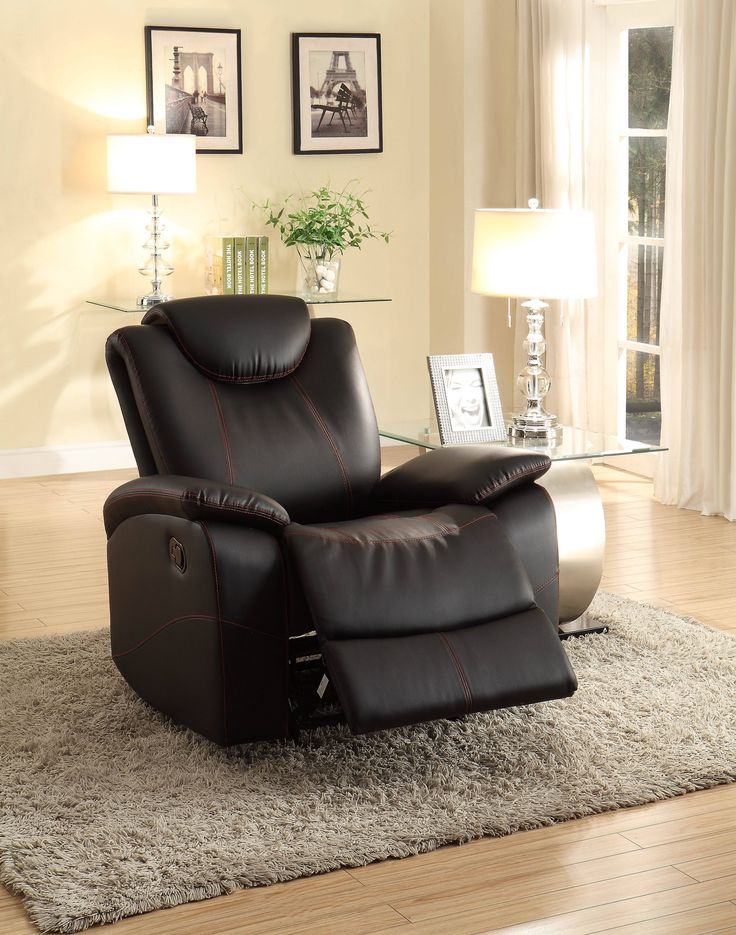 Talbot Contemporary Black Bonded Leather Glider Reclining Chair