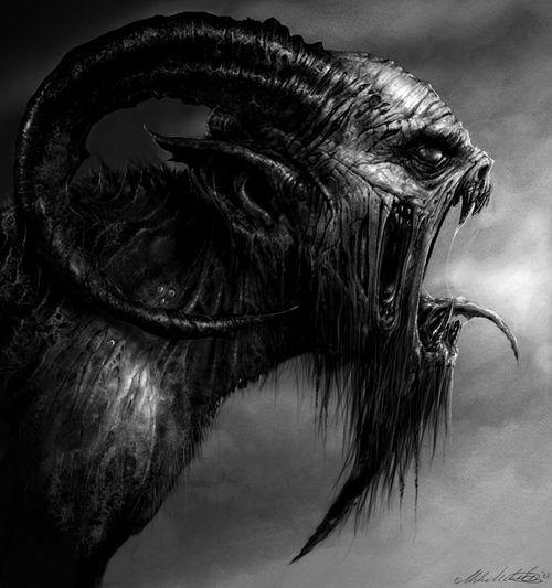 YIKES!!!! SCARY art Black and White creepy dark creature satan Demon #JesusBeAFence