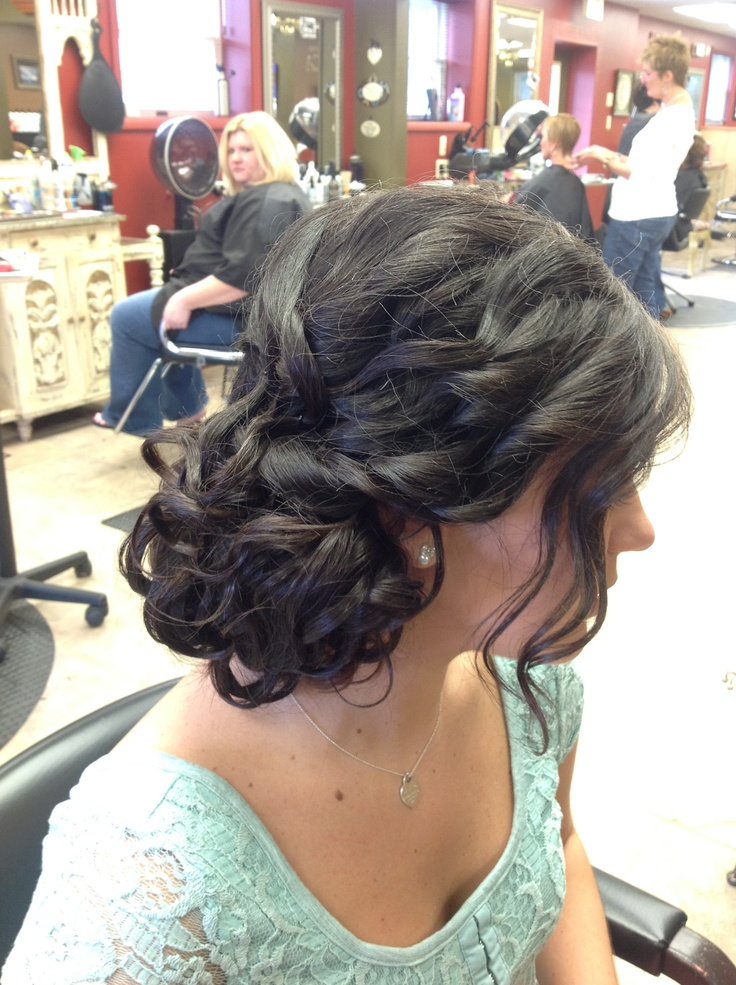 Prom up do. Messy side bun. Side updo | hair | Pinterest ...