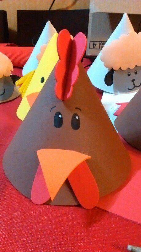 Gorro gallo, cumpleaños granja