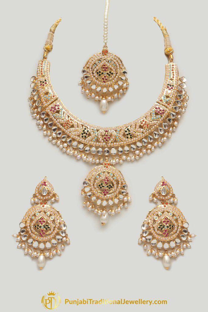 a02462869 Multi Jadau Pearl Kundan Necklace Set By Punjabi Traditional Jewellery