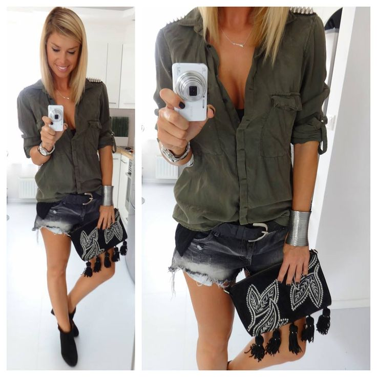 khaki shirt shorts and black ankle boots ::: regina dukai