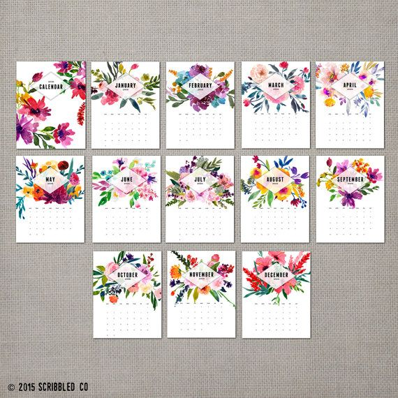 2016 calendario mensual de pared calendario 2016 por ScribbledCo