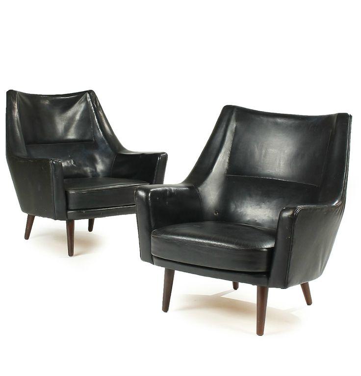 Ib Kofod-Larsen; Leather and Beech Easy Chairs for Harald Gjernøe, 1954.