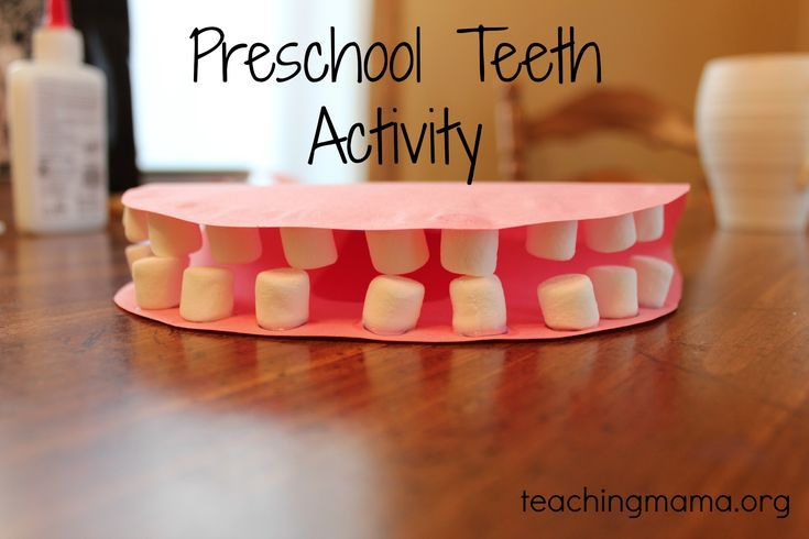 Preschool Teeth Lesson: helps kids understand how important it is to have white teeth when you put some brown ink on the marshmallow  (cavity).