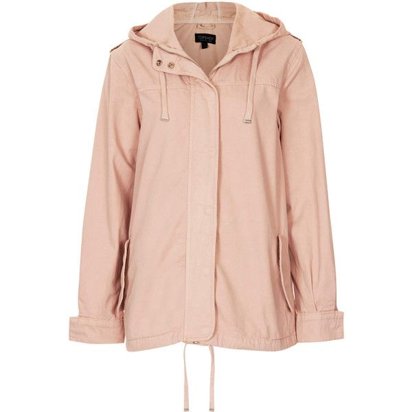 TOPSHOP Lightweight Short Parka Jacket ($29) found on Polyvore featuring outerwear, jackets, coats, topshop, pink, topshop parka, cotton jacket, pink parka and light weight jacket