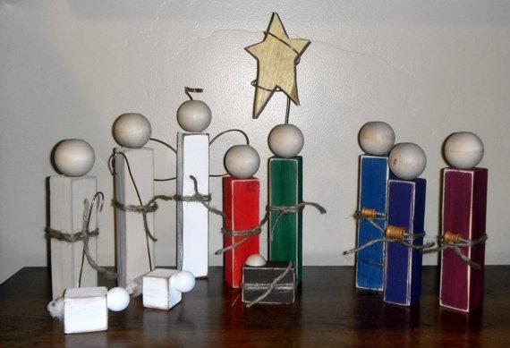 Simple Wooden Nativity Set  Full Nativity  Style 2 by SuziShoppe, $26.99