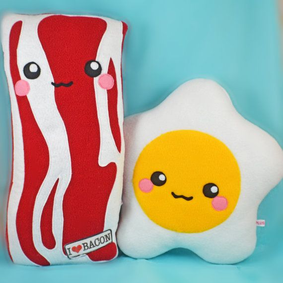 BIG Bacon and EGG plush toys pillows cushions geekery by Plusheez