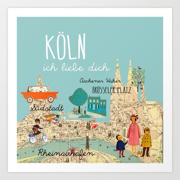 Köln - ich liebe dich Poster Lámina por Claudia Schoen | Society6 - Cologne Map
