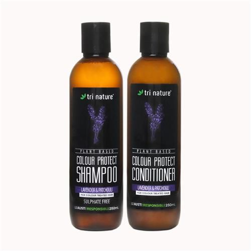 Colour Protect Shampoo and Conditioner Duo, An extremely gentle, completely sulfate free shampoo and conditioner for the most sensitive of scalps and all hair types.  Colour Protect has a very gentle smell of Lavender, Rosemary and Patchouli essential oils. #notoxins #natural #plantbased #colourprotect #nosulfates #shampoo #conditioner