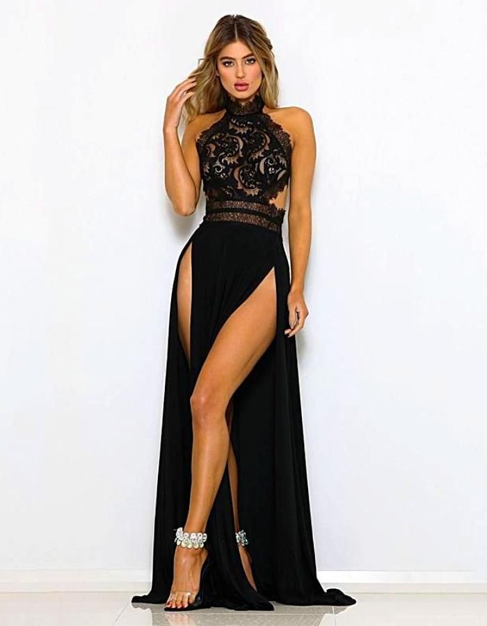 a9307b22804 Women's Black High Split Halter Evening Dress, INstyle fashion in ...