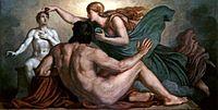 Promethée Observe Athéna offrir le souffle divin et la raison a son oeuvre, l'homme, peinture de Christian Griepenkerl, 1877