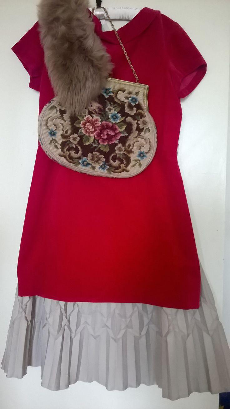 Vintage pleated skirt + velvet dress in raspberry + vintage tapestry bag & faux fur