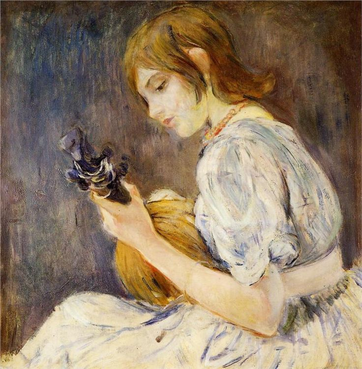 The Mandolin.  Berthe Morisot (1841-1895) was a French painter, member of the Impressionism movement. She married Eugène Manet, who was a brother of Édouard Manet.