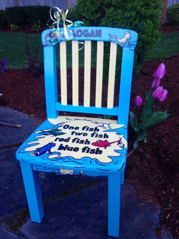 Hand Painted Childu0027s Chair Painted In Dr. Seuss, One Fish, Two Fish Theme