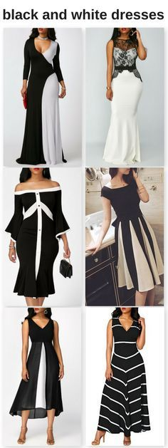 six different styles of black and white maxi dresses