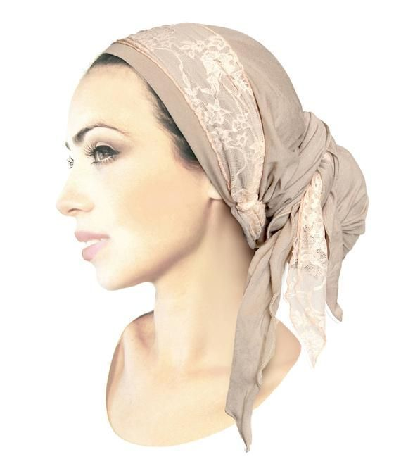 Taupe head scarf pink shabby chic lace pre tied bandana for boho chic head scarves, tichel, head scarves, chemo hat, hair snood, chemo head scarf, and...