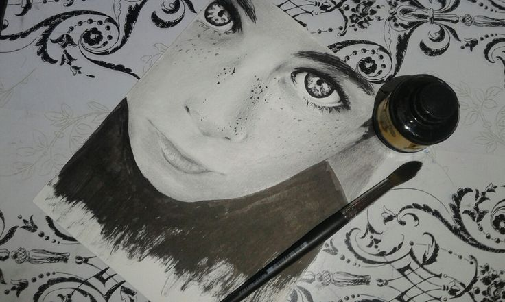 Draw chinese ink portrait