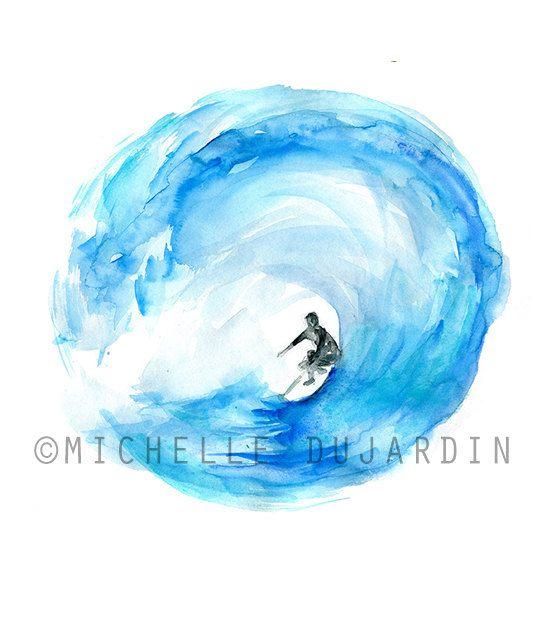 Surf schilderij Golf aquarel  Origineel werk   Zen door Zendrawing
