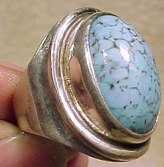 HERMANN SIERSBOL Sterling Silver & Turquoise Art Glass RING