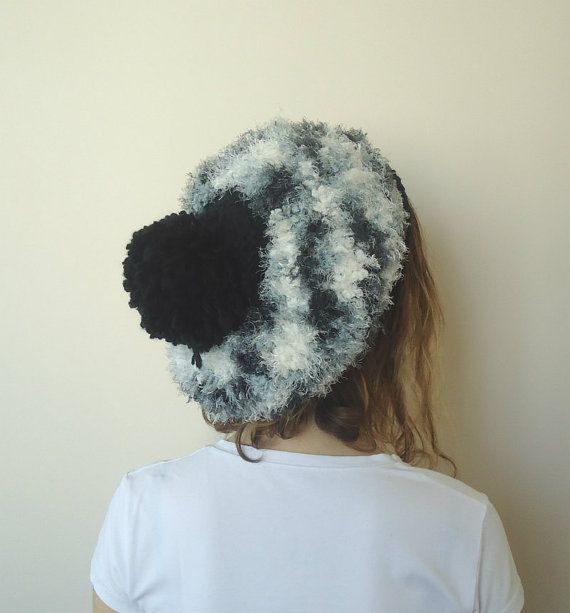 HAND KNİTTED Black Gray hatslouchy beanie big pompom by MARYsworks