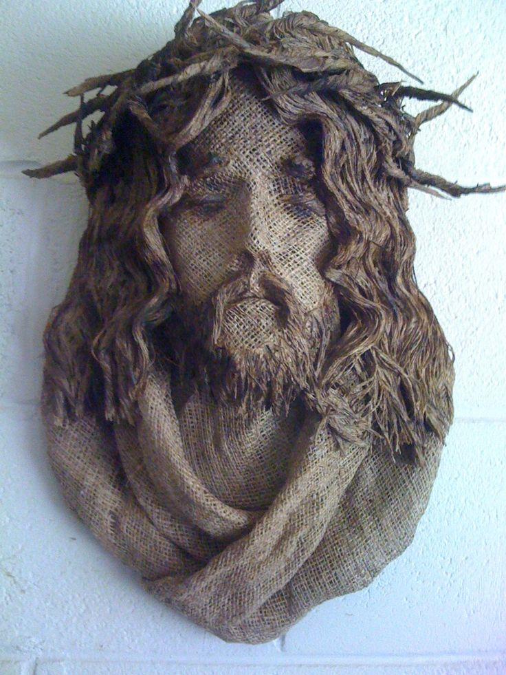 Burlap JesusCrafts Work, Verses Canvas, Amazing Art, Burlap Jesus, Christ Bust, Bible Verses, Sculpting Burlap