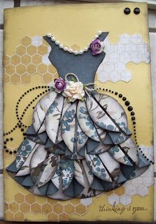 A card I made for a friend who had a knee replacement, I cut out circles for the bottom of her dress and just folded them. Everything came from my stash.