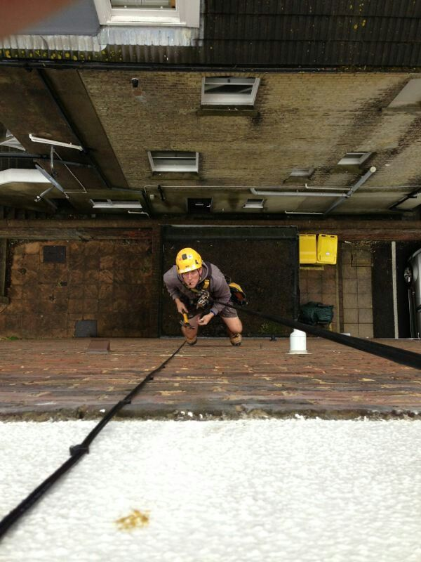 Keeping cable runs as tidy as possible on a block of flats in Hove.