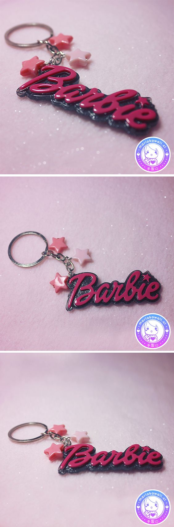 María Kawaii Store ♥ Keychain Barbie Black and Fuchsia
