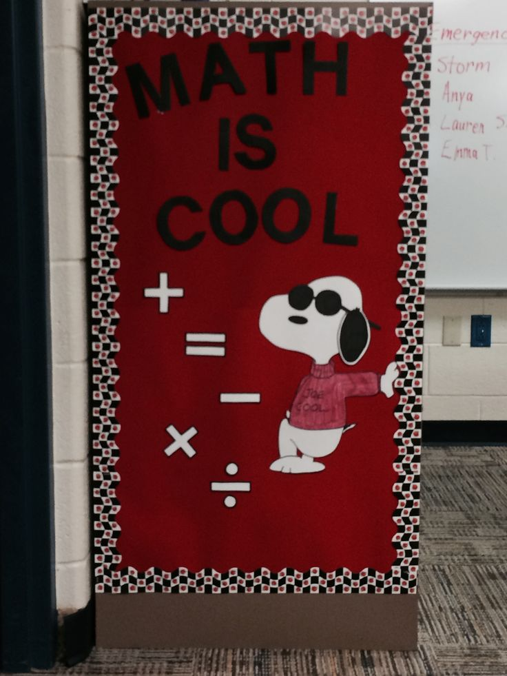 Classroom Decor Math ~ Math is cool to display the symbols commonly used in