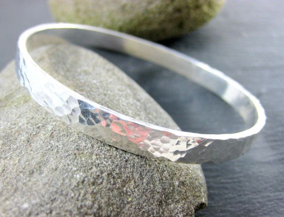 Heavy Sterling Silver Bangle Bracelet by GlassRiverJewelry on Etsy