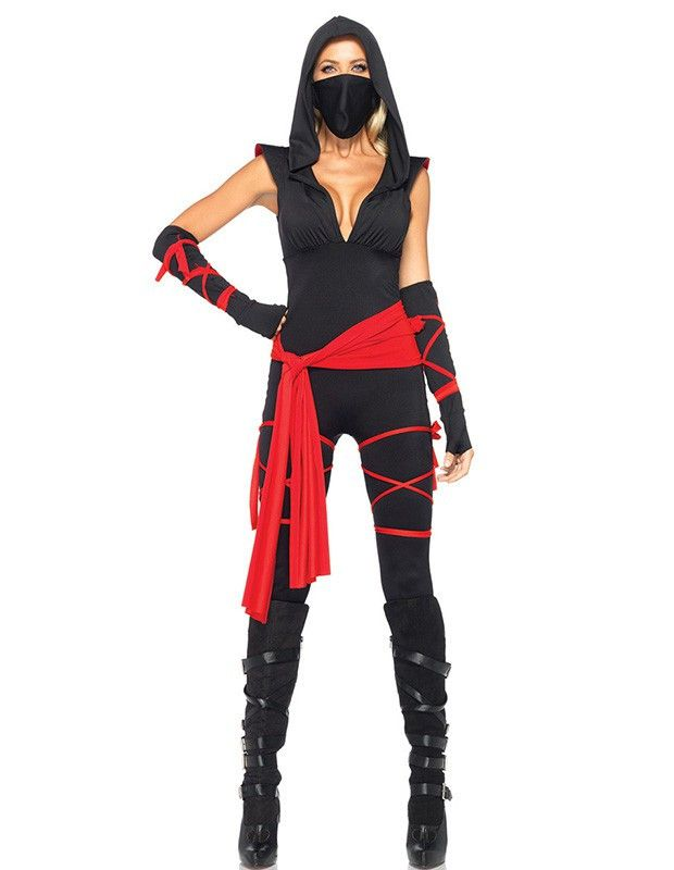 Product Code: THC0230239 Package included: mask,top,pants, and gloves Gender: Female Age Group: Adult Color:black Pattern: ninja costume Material: Polyester Fiber 2016 the latest Halloween costumes ar More