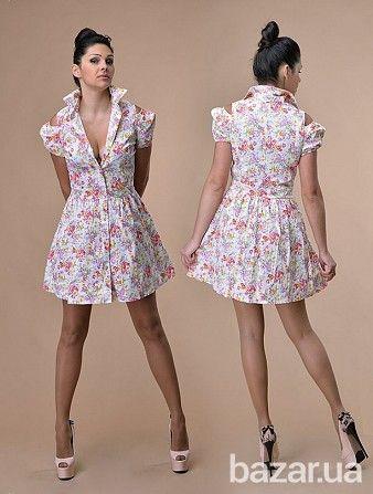 Джинсовое платье в цветы. На плечах вырез. В 2 расцветках - Женская одежда Киев на Bazar.ua