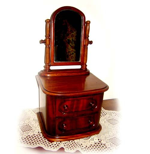 Victorian 1890's Mahogany Vanity Cheval Mirror & 2 draws by ALEXANDER GRANT & CO, £150.00