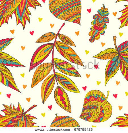 Collection of autumn leaves of different trees (oak, linden, maple, acacia) hand draw in vector. Decorative seamless pattern can be used for design of stationery (notepads, paper, folders, etc.)
