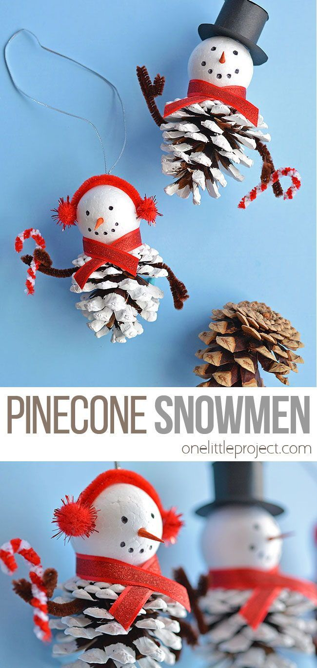 How To Make Pinecone Snowman Ornaments Kindergarten Christmas Crafts Snowman Crafts Diy Christmas Ornaments Homemade