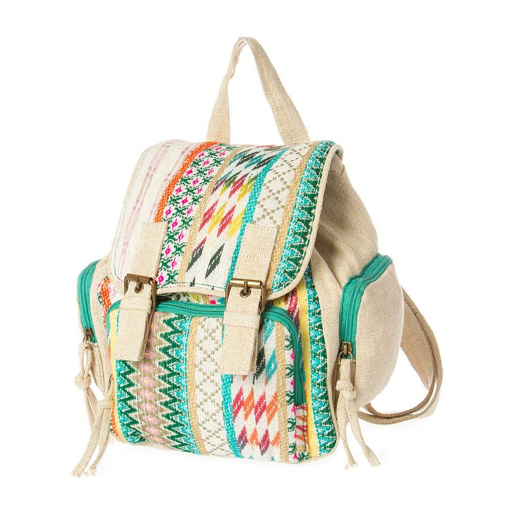 Burlington Mini Green and Pink Embroidered Tribal Print Backpack