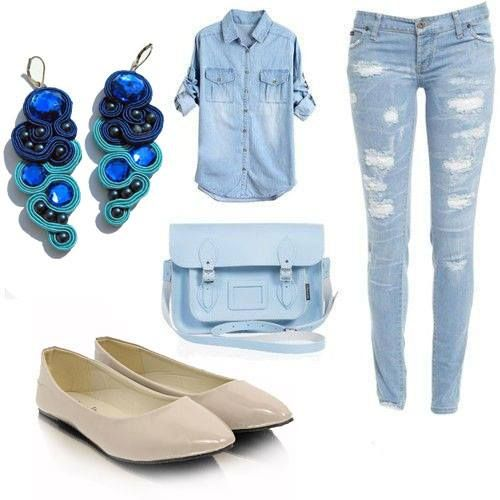 Daily denim outfit made by Broshka.  Beige flats is available on www.broshka.pl
