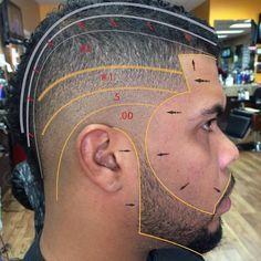 """Dope Visual Diagram Break Down Of This #SkinFade #MoHawk ✂️✂️ @vic_mlb @scissorhandsjoff"""