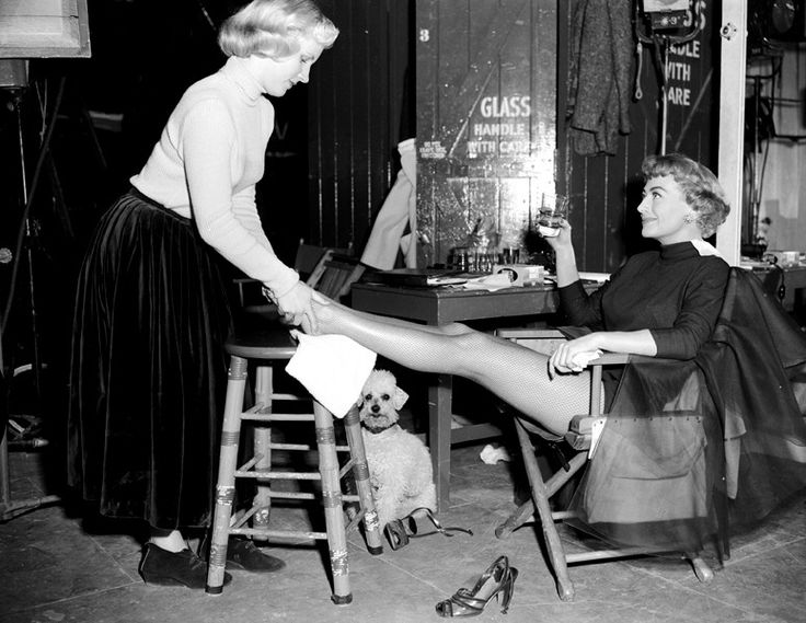 Joan Crawford on the set of 'Torch Song' with daughter Christina, 1953.