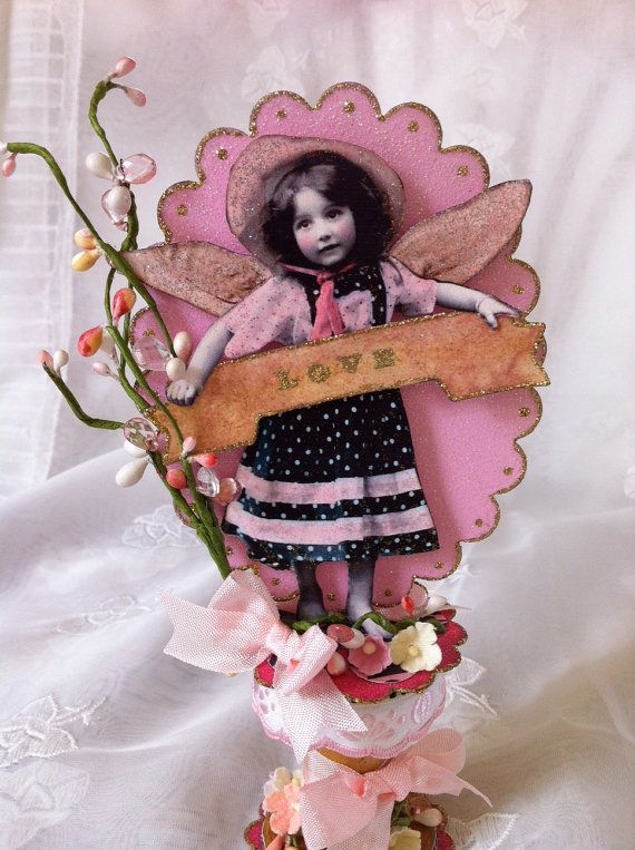 Mother's Day Ornament Mixed Media Altered Spool by ParisPluie, $17.00
