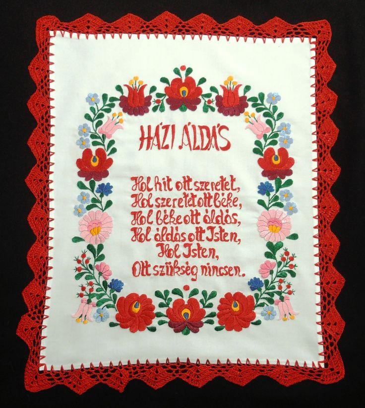 Házi Áldás matyó motívummal hímezve - Matyó terítők