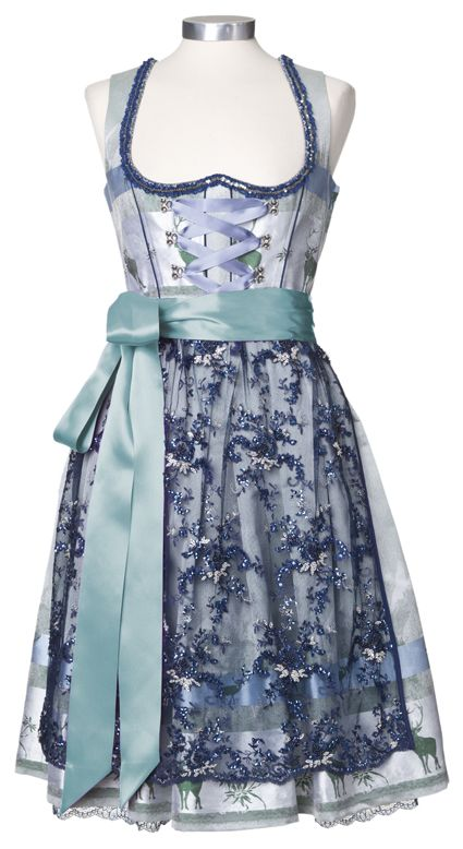 Love the green stag print on this otherwise blue hued dirndl. #deer #stag #woodland #dirndl #dress #folk #costume #German #clothing