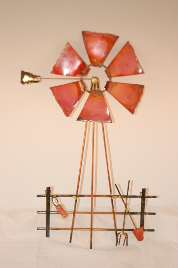 Windmill: Copper brass bronze and steel by POFFMETALSCULPTURES