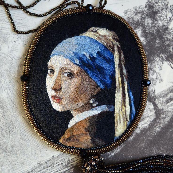 Embroidery Renaissance Paintings by Maria Vasilyeva