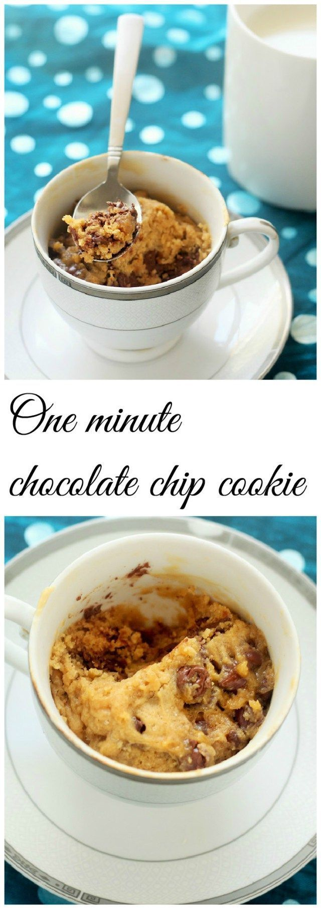 1 Minute Microwave Chocolate Chip Cookie in a Cup. Simple and quick to make, this cookie is a real keeper