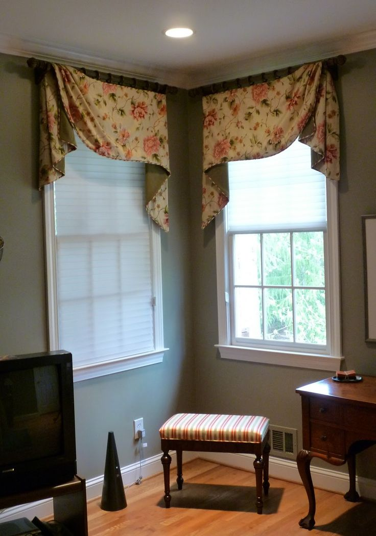 swag valance in corner window the curtain call corner window treatments for the master - Living Room Window Coverings