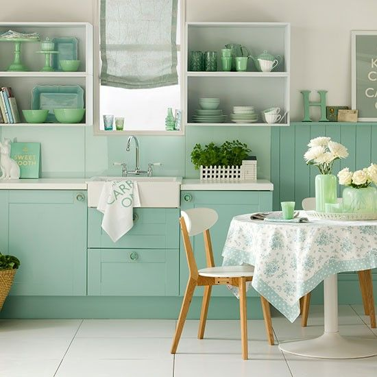 My favourite colour!!! Contemporary rustic kitchen-diner with range cooker | housetohome.co.uk